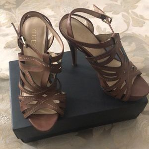 Guess tan strappy heel - ANY 4 $10 ITEM FOR $25
